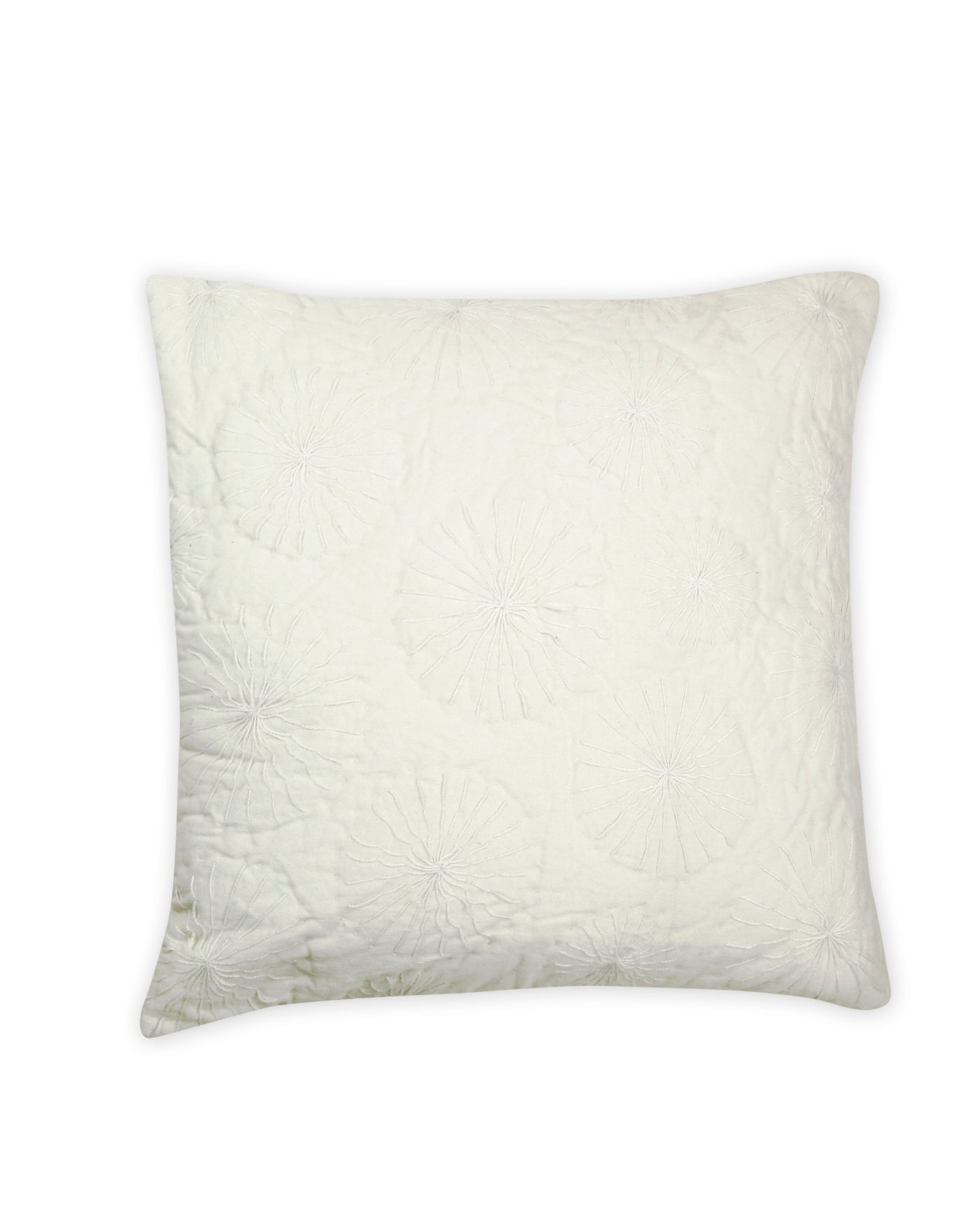 Cream Cotton Embroidered Cushion