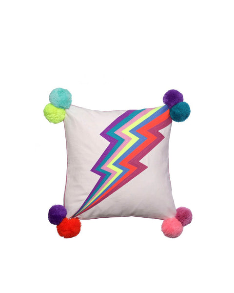 Lightning Bolt Embroidered Cushion