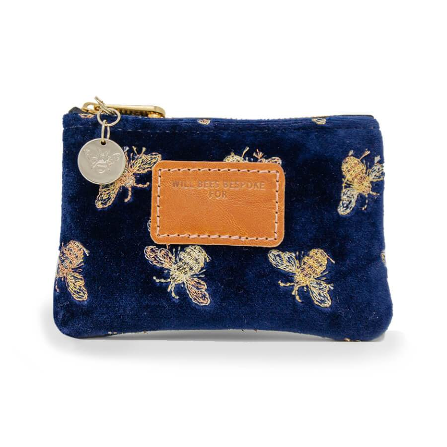 Jane Coin Purse - Classic Bees on Navy Velvet
