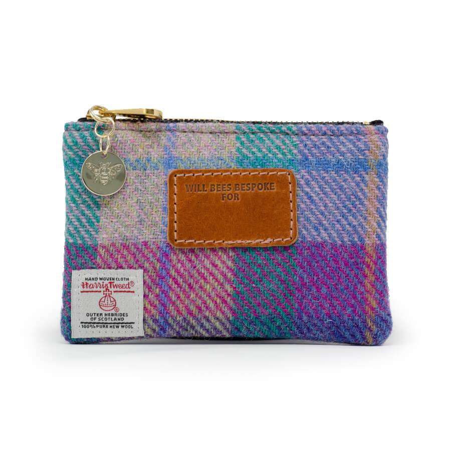 Jane Coin Purse - Harris Tweed® Pink & Purple