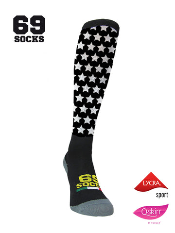 #69socks Q-skin Long Stars in The Road Black