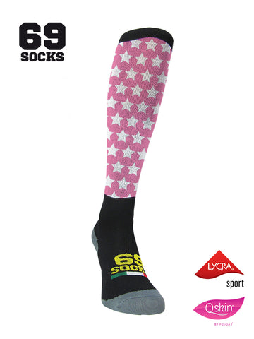 #69socks Q-skin Long Stars in The Road Pink