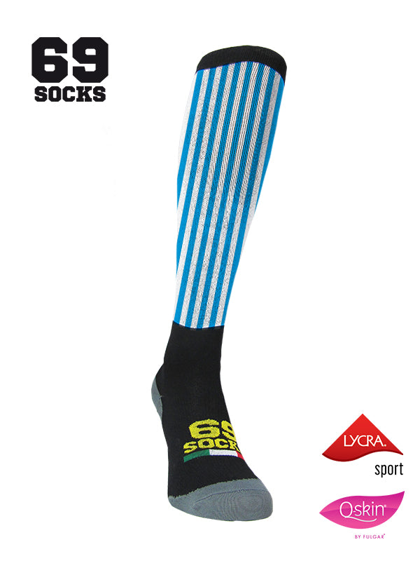 #69socks Q-skin Long AzulWhite vertical