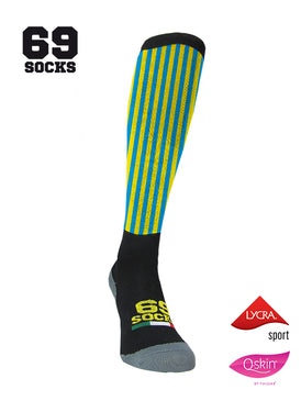 #69socks Q-skin Long YellowBlu vertical