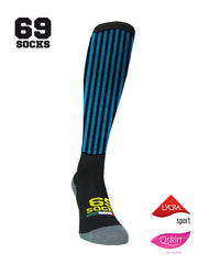 #69socks Q-skin Long BlackAzul vertical