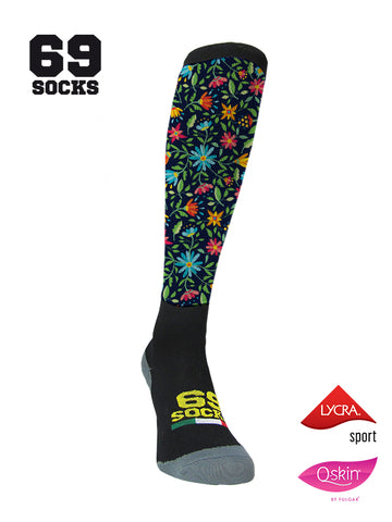 #69socks Q-skin Long Flowers in The Road Black/Azul