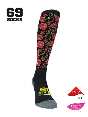 #69socks Q-skin Long Flowers in The Road Black/Red