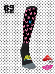#69socks Q-skin Long Blanquitas Black Pink Azul