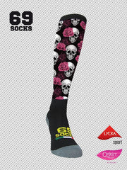 #69socks Q-skin #19Skull&Roses Deep Black