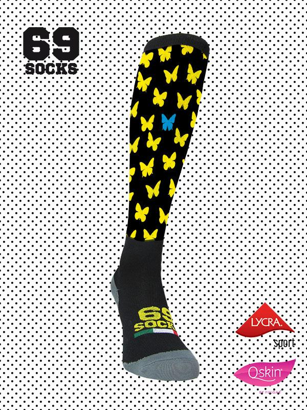 #69socks Q-skin Long Blanquita Black Yellow Azul
