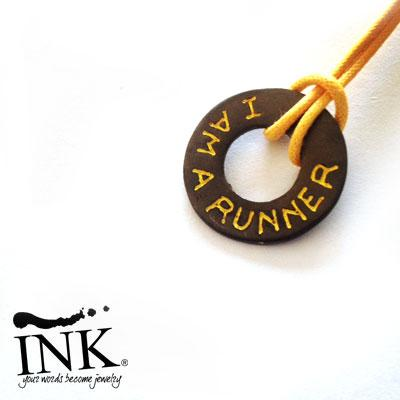"Ciambella Argento Black  ""I AM A RUNNER"" Personalizzabile. By INK."