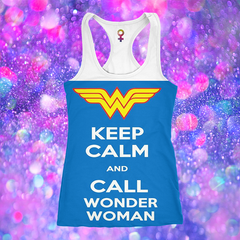 69Tank Top  Keep Calm And Call Wonder Woman