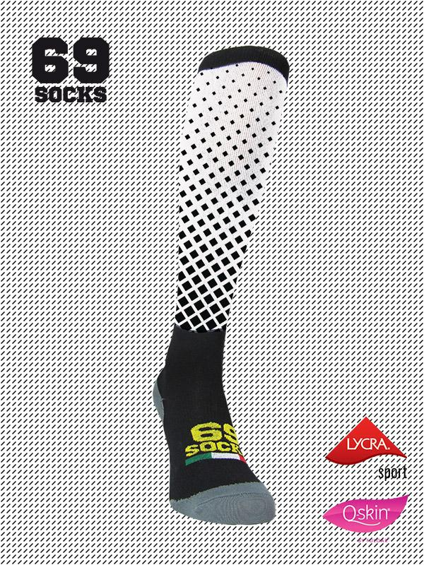 #69socks Q-skin Long BlackWhite Square