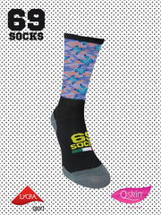 #69socks Q-skin Short Camo Mariposas Purple