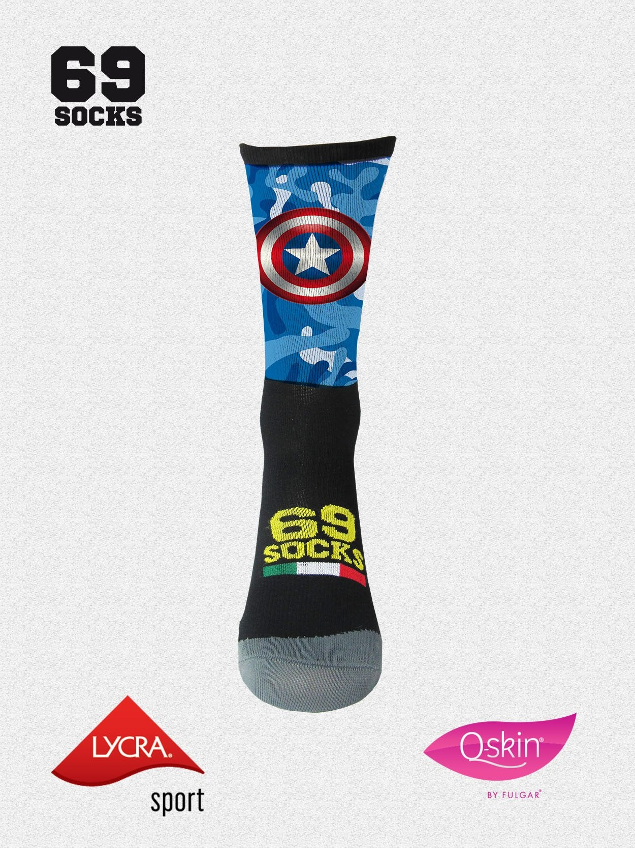 #69socks Q-skin Short Capitan Runner Camo