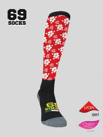 #69socks Q-skin Long Hawaii Red