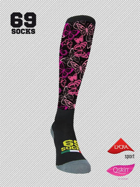 #69socks Q-skin #41Mariposas fuxia & black