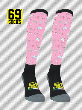 Riding  #69socks Q-skin Long Micro Unicorn Pink