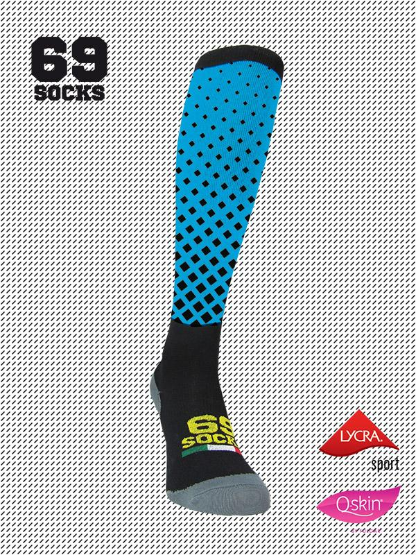#69socks Q-skin Long BlackAzul Square