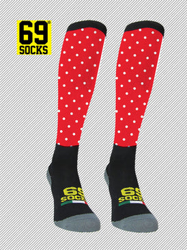 Riding  #69socks Q-skin Long Pallino Red