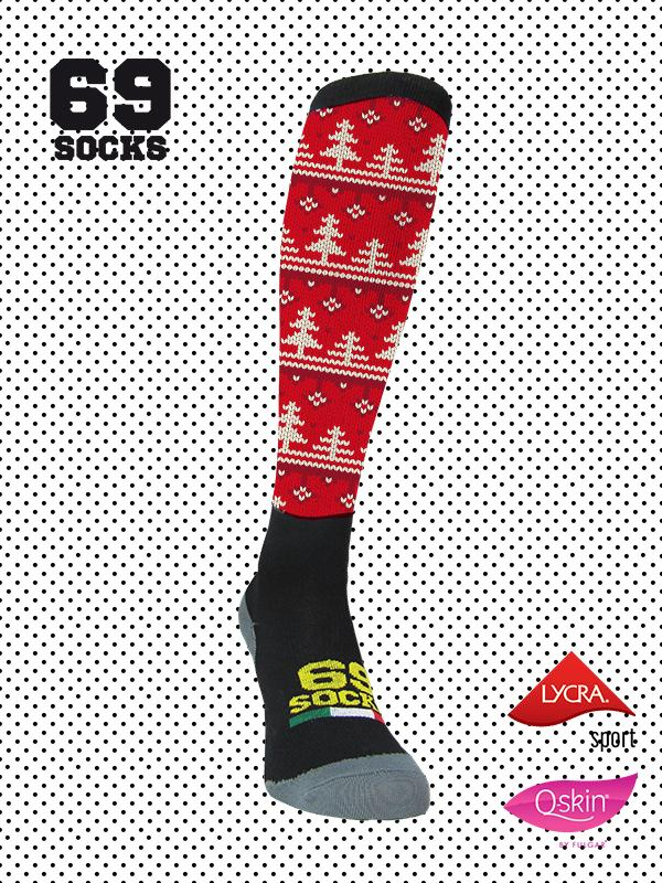 #69socks Q-skin Long Christmas Red