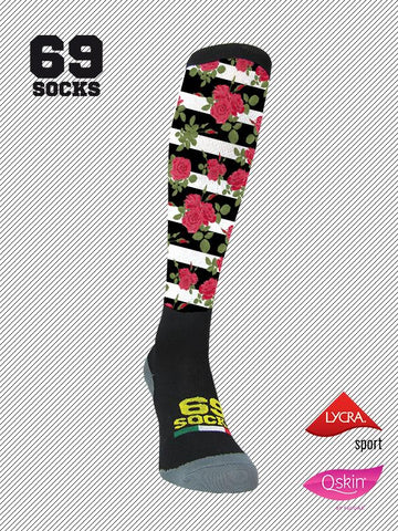 #69socks Q-skin Long #39Black Roses Stripe