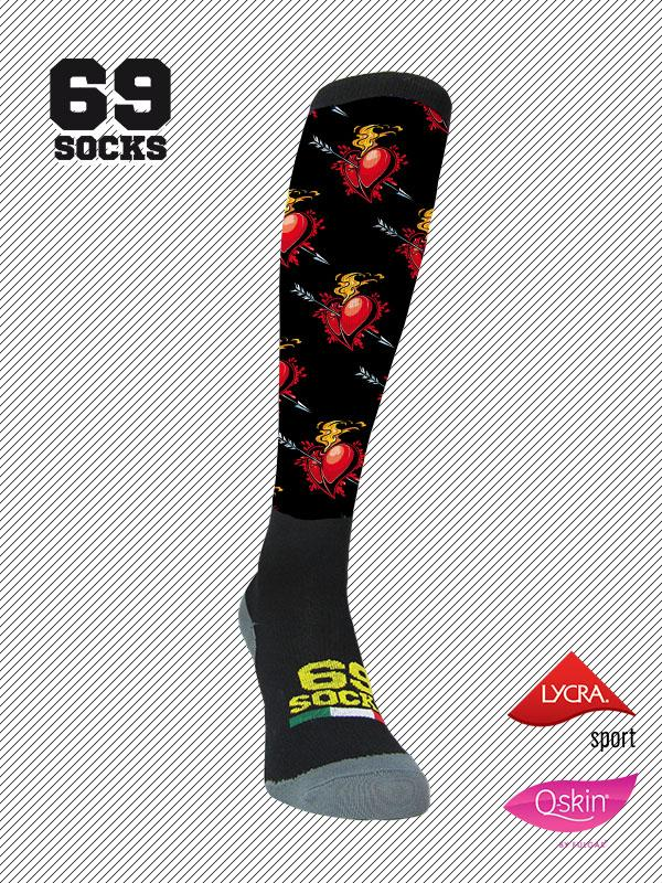 #69socks Q-skin Long Heart on Fire Black