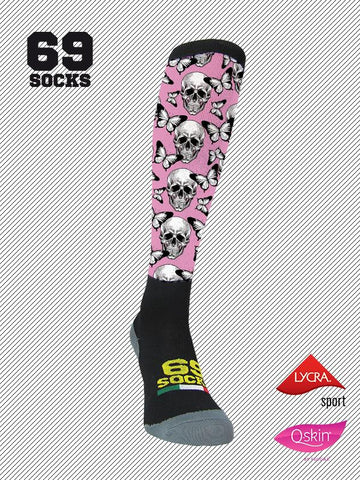 #69socks Q-skin Long Skull&Mariposas Pink