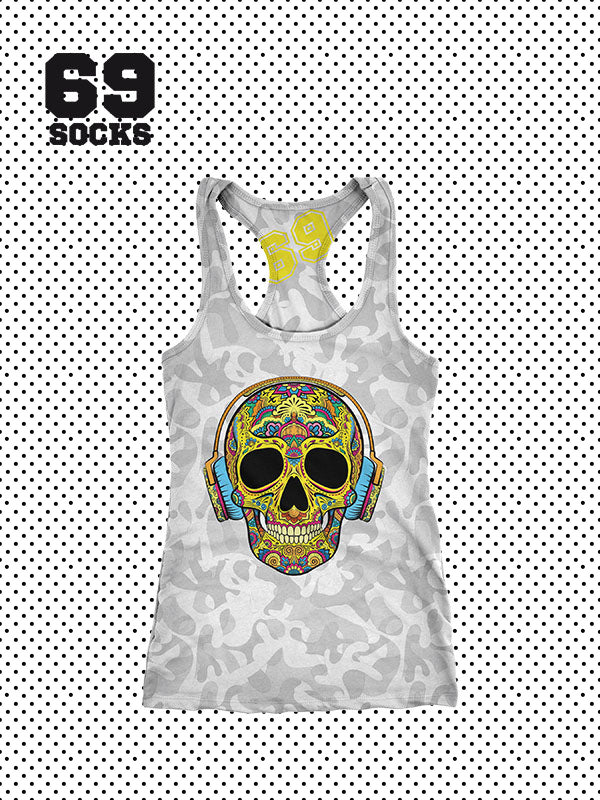 Camo Grey Skull Yellow