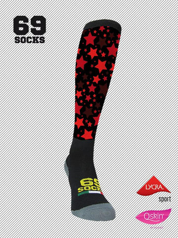 #69socks Q-skin Long #58Red Star Black