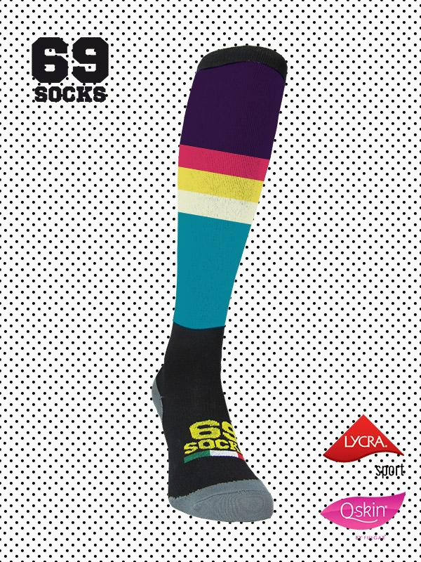 #69socks Q-skin Long Technicolor Black Purple