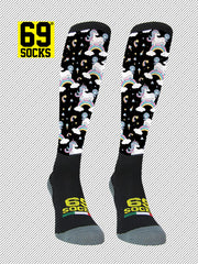 Riding  #69socks Q-skin Long Unicorn Rainbow Black