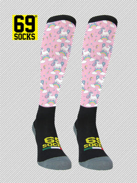 Riding  #69socks Q-skin Long Unicorn Rainbow Pink