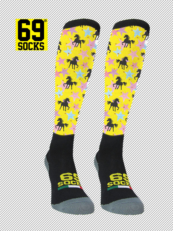 Riding  #69socks Q-skin Long Unicorn Yellow Star