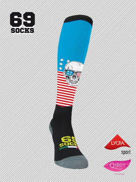 #69socks Q-skin Long SkullUsa