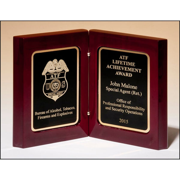 Rosewood High Gloss Stained Book Award with Black Laser Engravable Plates