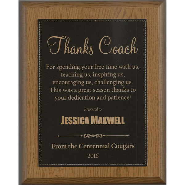 Coach Award, Oak-Finish-Plaque-with-Black-Leatherette-Plate