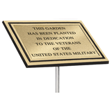 Dedication Plaque, Outdoor-Cast-Plaque-Bronze-and-Brown-Aluminum-with-Stake