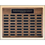 Donor Plaque, Solid-American-Walnut-Perpetual-Eliptical-Large-Plaque-with-Large-Black-Brass-Plates