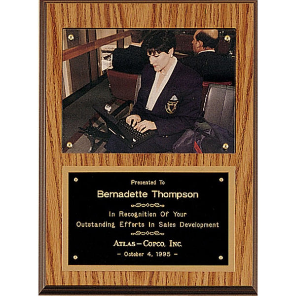 Oak Finish Photo Plaque with Black Brass Plate, 2 Sizes