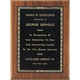 Excellence Award, Solid-American-Walnut-Plaque-with-Braided-Bordered-Black-Brass-Plate