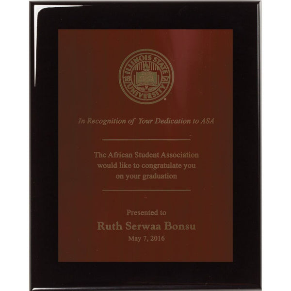 Graduation Award, Black-Piano-Finish-Plaque-with-Cherry-Red-Brass-Plate