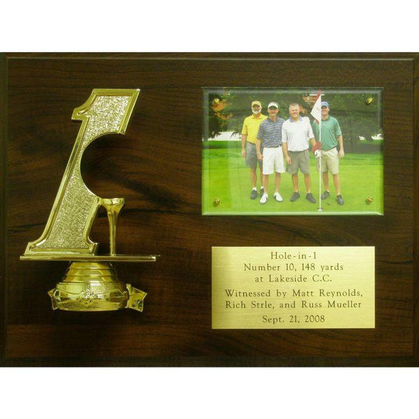 Hole in One Award, Cherry-Finish-Plaque-with-Figure_Standout-Plexiglass-and-Brass-Plate