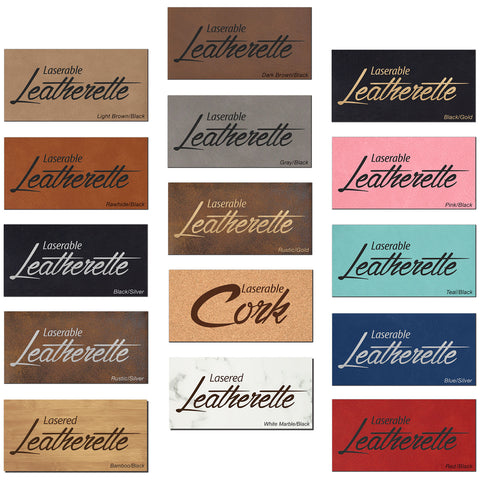 Laserable Leatherette and Cork Color Swatches