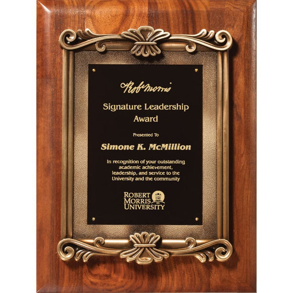 Solid American Walnut Plaque with Heavy Die Cast Plate Mount, 2 Sizes