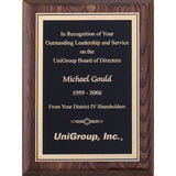 Leadership Award, Walnut-Stained-Piano-Finish-Plaque-with-Florentine-Border-Plate