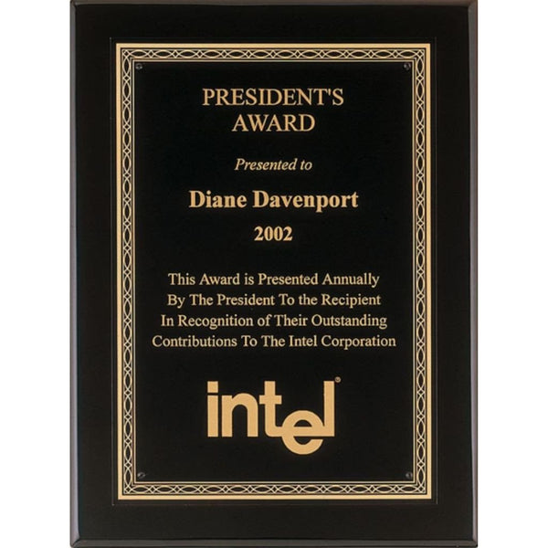 President Award, Black-Piano-Finish-Plaque-with-Gold-Florentine-Design-Border