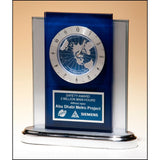 Safety Award, Blue_and_silver_desk_clock_with_world_time_clock_movement