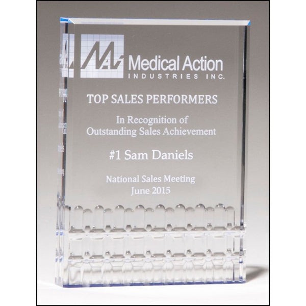 Sales Award, Classic_Series__freestanding_clear_acrylic_with_blue_highlights
