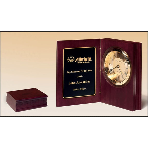 Sales Award, Hand-rubbed_rich_mahogany_finish_book_clock